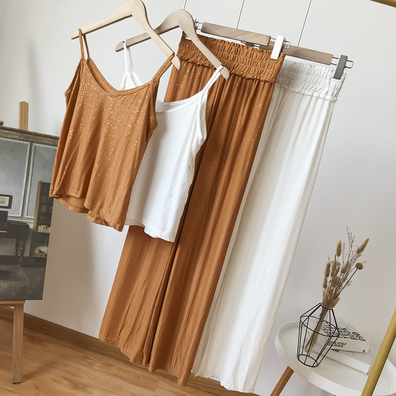 Stock WOMEN'S Dress Overstock Versatile Solid Color Top Shirt With Narrow Straps Drape Casual Wide-Leg Trousers WOMEN'S Suit 12.