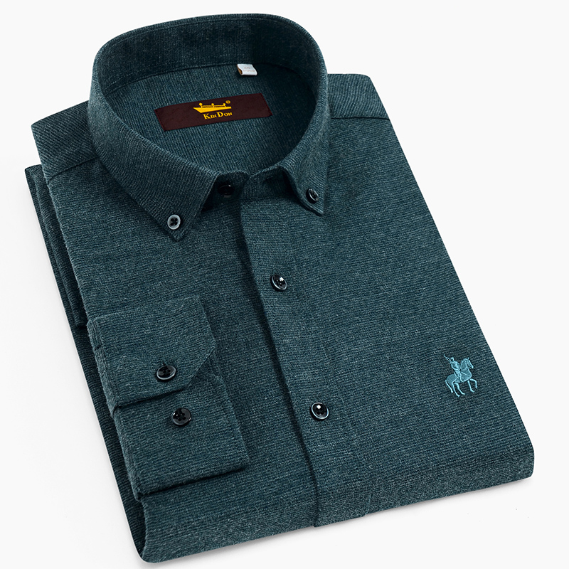 Men's Casual Standard-fit Thick Brushed Flannel Shirts Embroidered Logo Comfortable Soft Cotton Long Sleeve Button-down Shirt