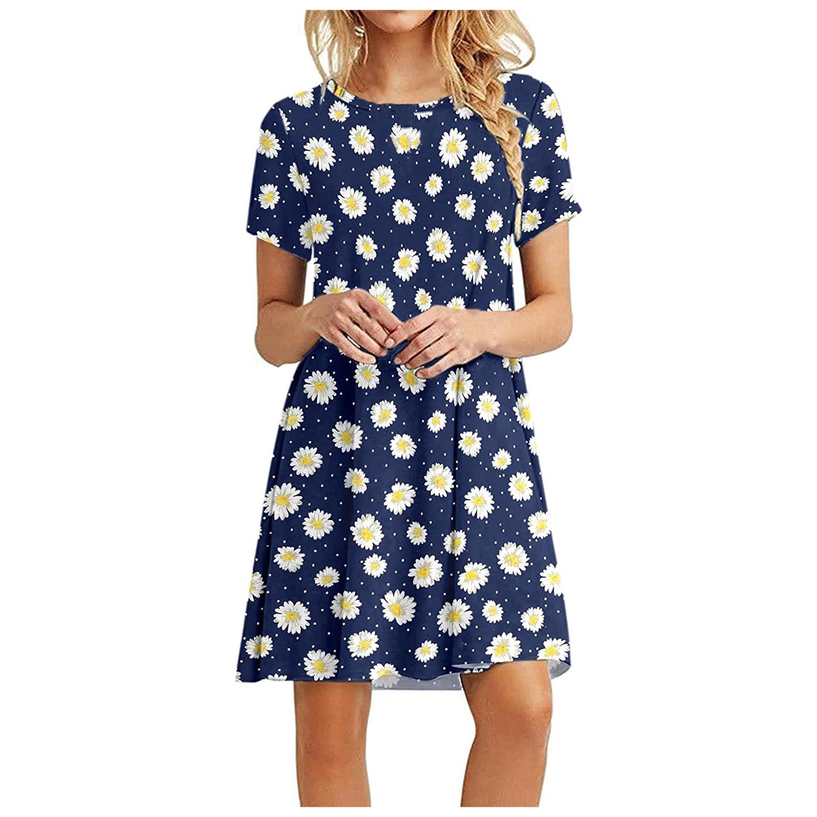 Women's Summer Casual Tshirt Dresses Short Sleeve Boho Beach Dress 4