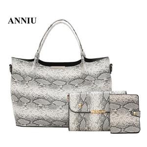 ANNIU New Fashion Snake skin handbag Three-piece suit Detachable shoulder strap shoulder bags for women bolso mujer