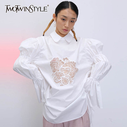 TWOTWINSTYLE Casual Loose Shirt Female Lapel Collar Flare Long Sleeve Embroidery Hollow Out Blouse Women Fashion Clothing Tide