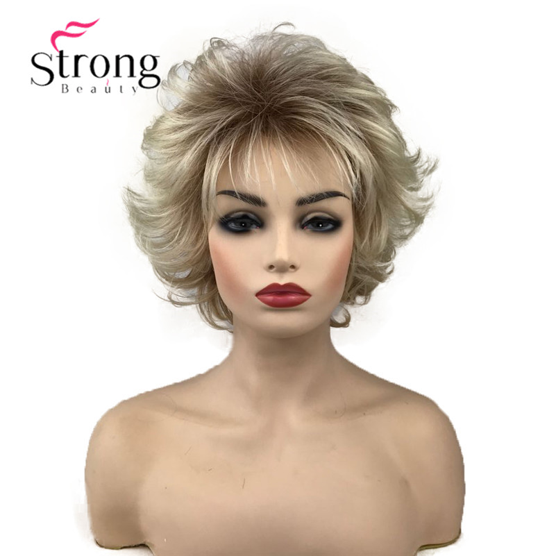 StrongBeauty Short Blonde With Dark Roots Ombre Choppy Layers Synthetic Hair Wig Wigs for women