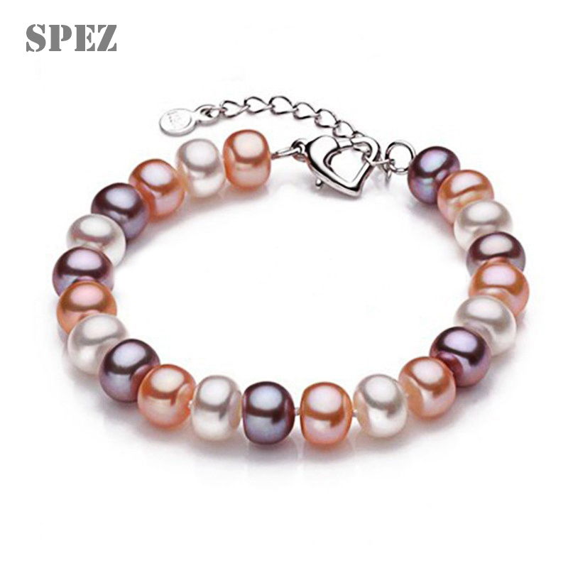 Natural Pearl Bracelets High Quality AAAA Freshwater pearls 8- 9mm Charm Bracelet t For women Jewelry Gift SPEZ