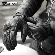 Inbike goatskin luvas da motocicleta à prova de choque das mulheres dos homens dedo cheio luvas de equitação motocross fibra carbono moto