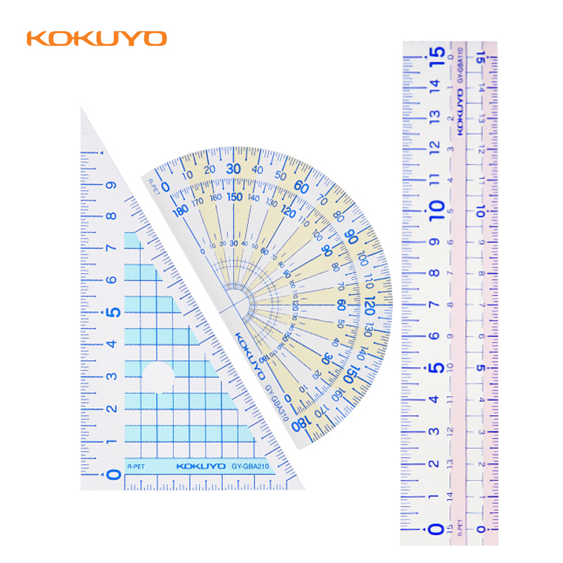 Japan KOKUYO Student Ruler Stationery Protractor Triangular Ruler GY-GBA110 For School Office