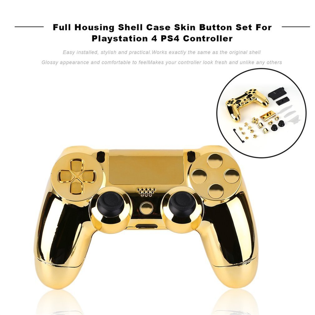 Full Housing Shell <font><b>Case</b></font> Skin Cover Button Set with Full Buttons <font><b>Mod</b></font> Kit Replacement For Playstation 4 <font><b>PS4</b></font> Controller Gold Sliver image