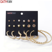 OATHYAN 9 Pairs/Set Classic Golden Metal Ball Heart Earrings Sets For Women Round Circle Hoop Earring Ladies Minimalist Jewelry oathyan 6 pairs set classic round hoop earrings for women party jewelry punk small oversize big circle earring set ladies gifts