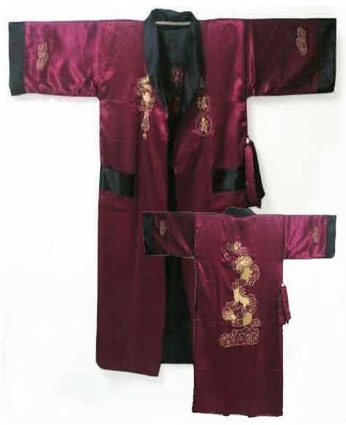 Burgundy Reversible Two-face Chinese Men's Silk Satin Robe Kimono Embroidery Bath Gown Dragon S0003