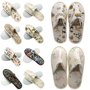 Cute Printed Disposable Slippers Linen Hotel Travel Spa Slippers Home New Beauty Salon Slippers Women's Slippers Hot women shoes