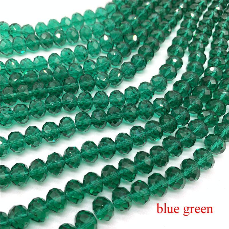 3X4/4X6/6X8/8X10 мм хрустальные бусины Рондель стеклянные бусины граненые хрустальные бусины для изготовления ювелирных изделий Аксессуары перевод Diy - Цвет: Blue Green