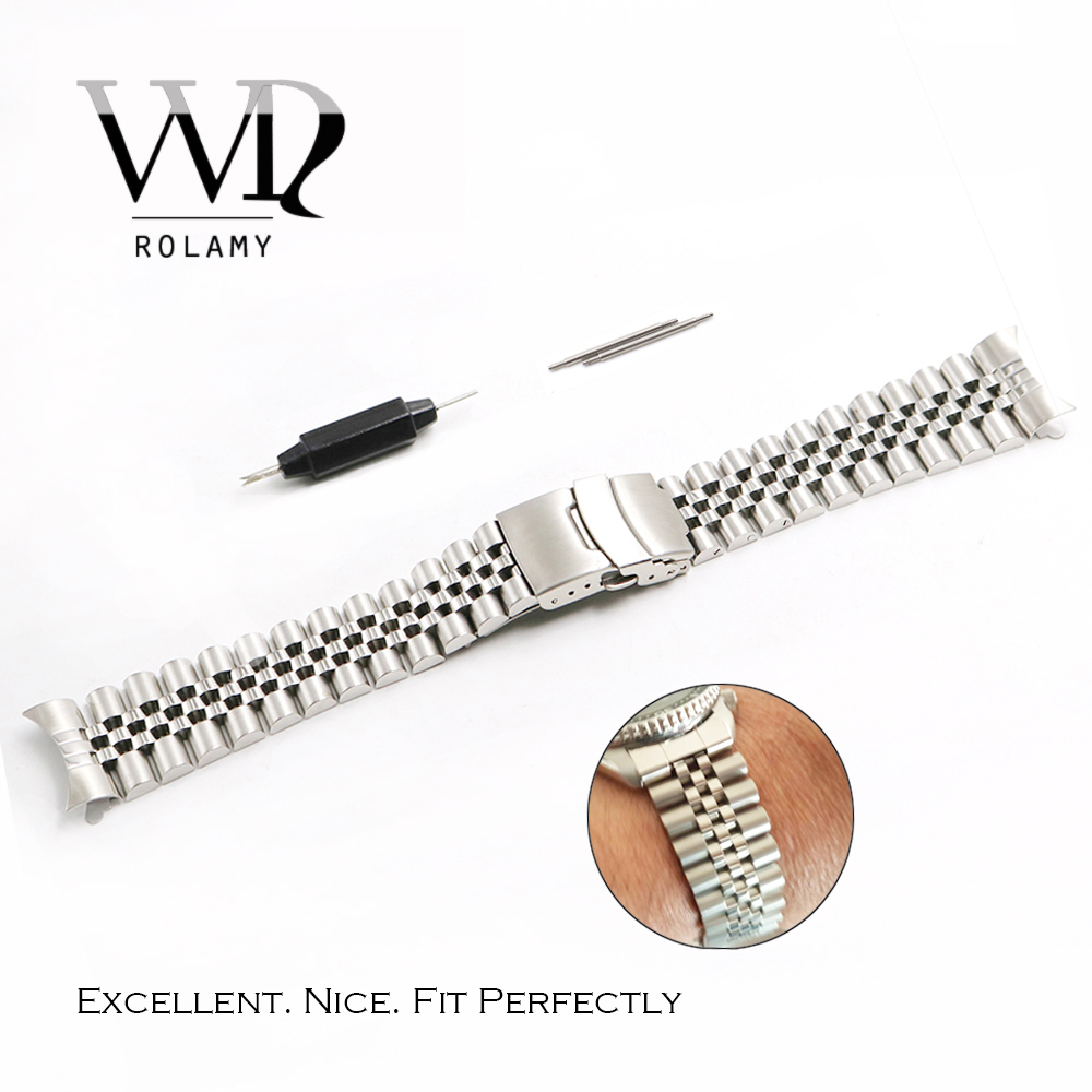 Rolamy 20 22mm Stainless Steel Watch Band VINTAGE Jubilee Bracelet Clasp Hollow Curved End Solid Screw Links For Rolex Seiko