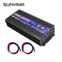 Sunyima 4000 w dc12v/24 v/48 v ac220v 순수 사인파 인버터 가정용 전력 변환기 더블 디지털 디스플레이 변환기