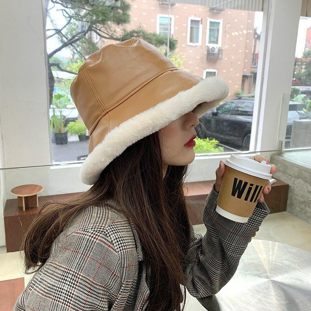 Зимние женские Панамы кепки с козырьком повседневный стиль ПУ