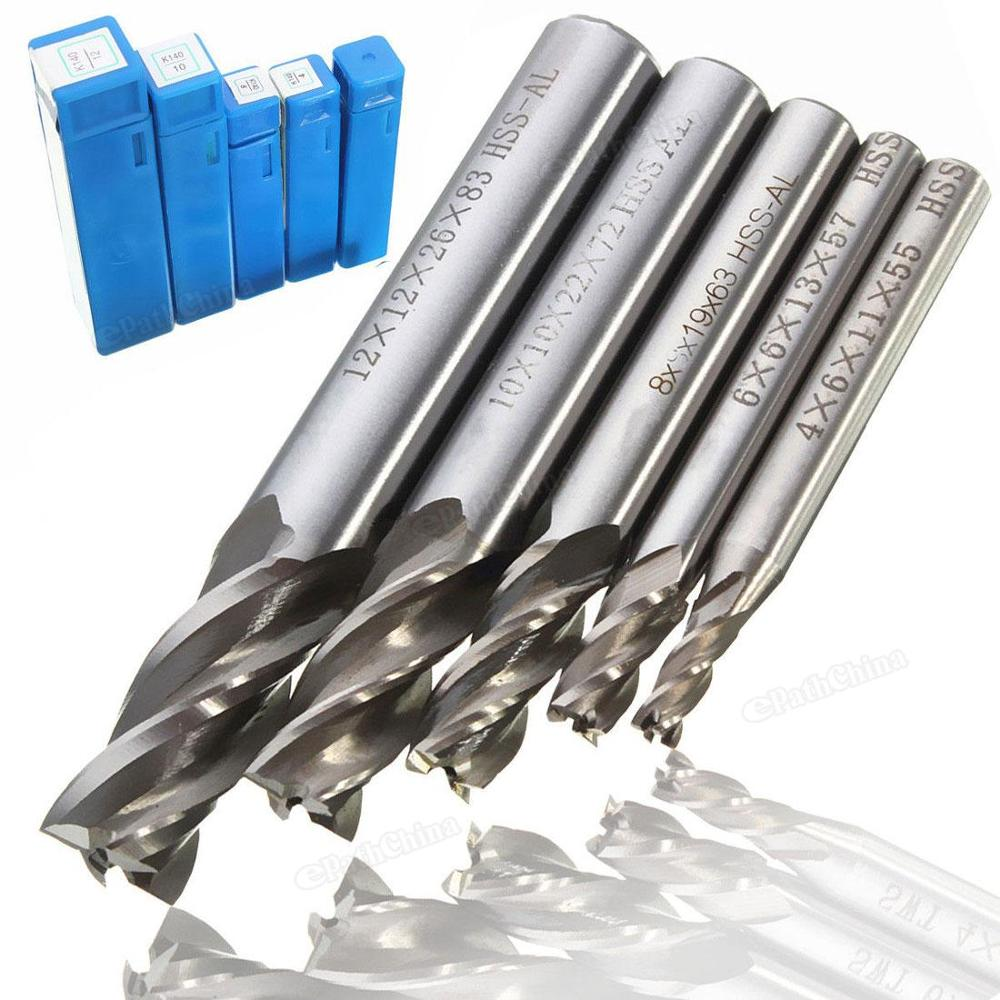 5pcs/lot Mill Cutter Drill Bit Set HSS Straight Shank 4 Flute End Drill Bits Tool 4 6 /8 10 12mm For CNC Milling Machine