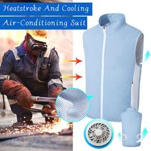 Fan vest air conditioning clothing male smart fan clothing cooling cooling usb battery charging clothing welding cooling vest air conditioning vest cooling clothing aluminum alloy vortex tube worker welding cool clothes for high temperature environment
