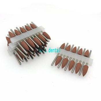 50 sztuk Dental gumy silikonowej z podstawką z żywicy ukryte protezy polerowanie Burs brązowy model 406