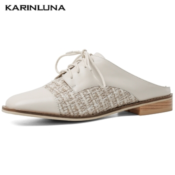 Karinluna On Sale New INS Hot Low Heels Comfort Genuine Leather Summer Sandals Slipper Mules Pumps Woman Shoes Women