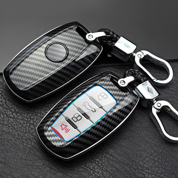 Carbon fiber ABS Car Key Case For Great Wall Haval H6 Coupe F7 F7X 2018 2019 Smart Remote Fob Cover Protector Auto Accessories image