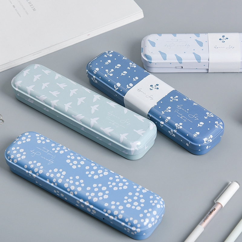 1 Pcs Literary Iron Tinplate Creative Stationery Box Tin Pencil Box Cartoon Pencil Case School Student Gifts Learning Stationery