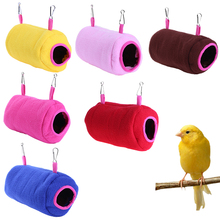 Pet Bird Parrot Hanging Hammock Thickened Soft Plush Cylindrical Bird Nest For Parrot Bird Tent Bed Bunk Toy Hanging Cave Solid
