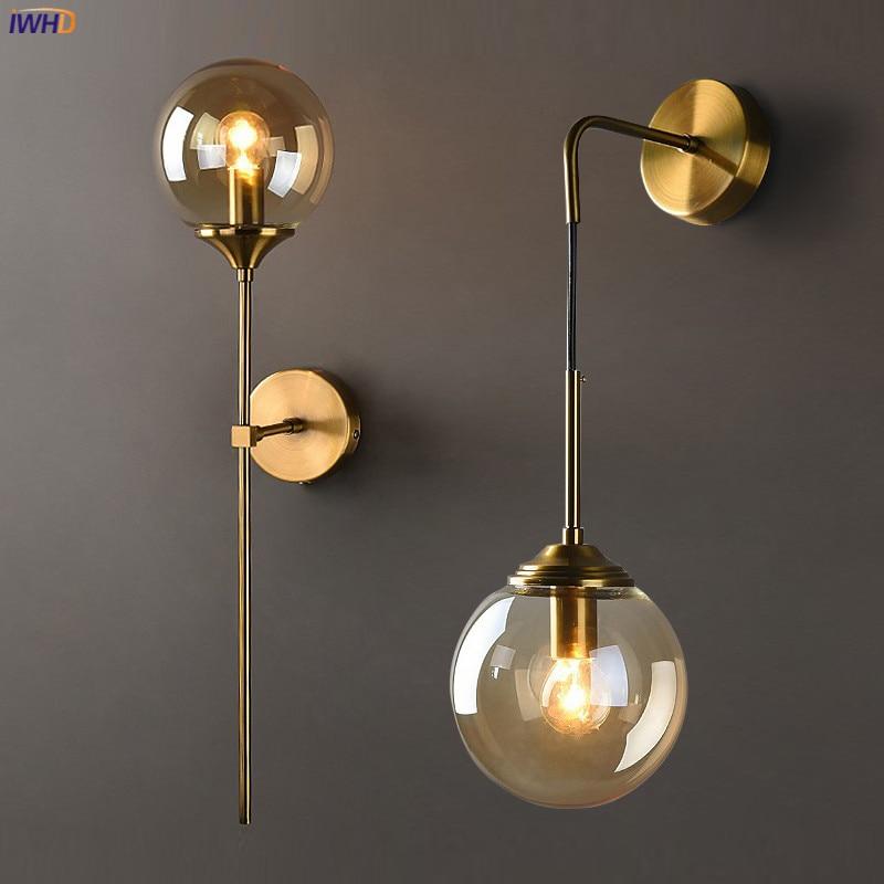 IWHD Nordic Modern Wall Lamp Beside Bedroom Glass Ball LED Wall Lights Fixtures Wandlamp Lighting Bathroom Mirror Stair Light