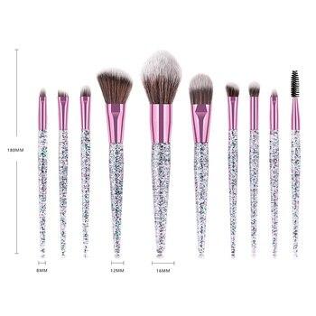 NEW 10pcs Colorful Makeup Brush Set Glitter Shinny Crystal Foundation Blending Power Cosmetic Beauty Make Up Tool Set 4