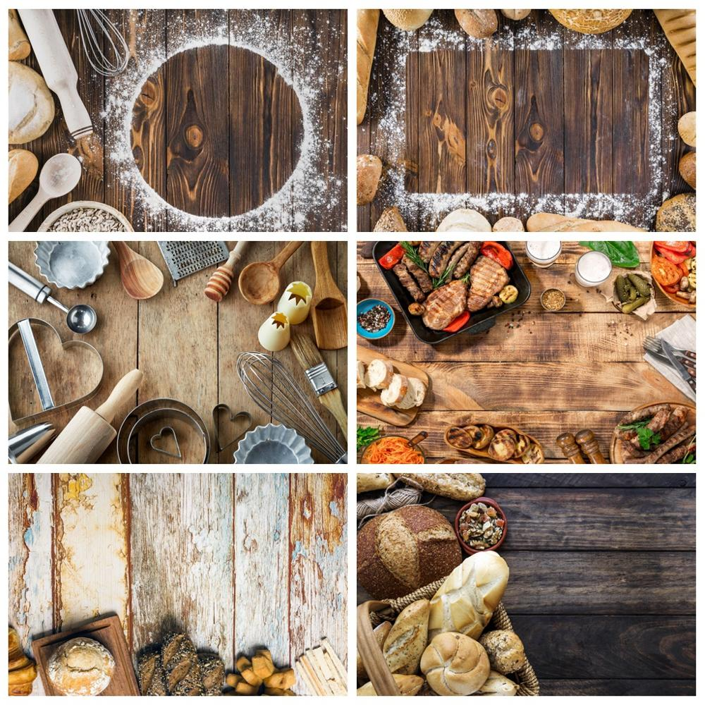 Wood Planks Backdrop Kitchen Tools Board Flowers Food Cake Portrait Party Photographic Backgrounds Photocall Photo Studio Shoot