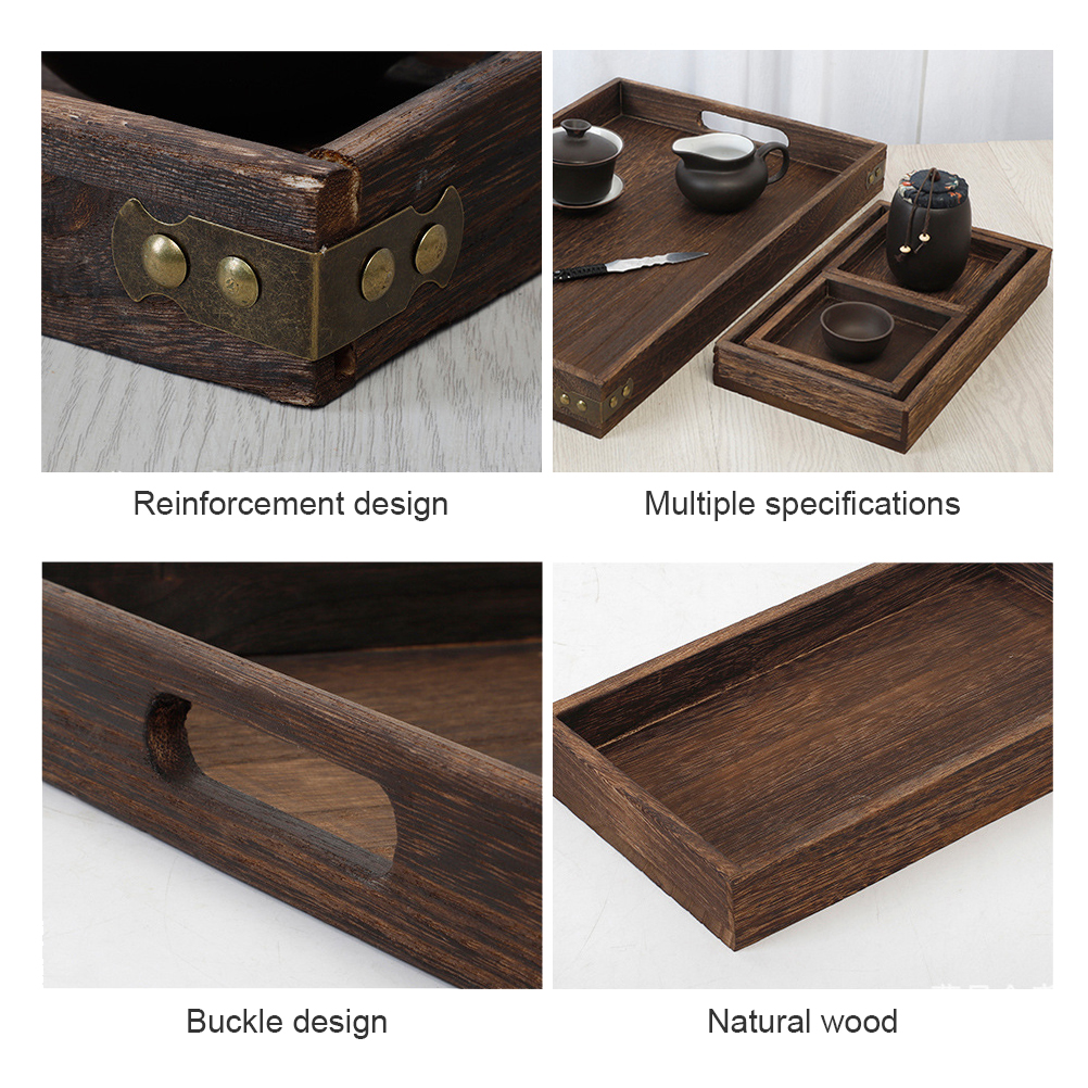 7pieces Tea Plates Saucer Square Rectangle Wood Snack Serving Tray Set