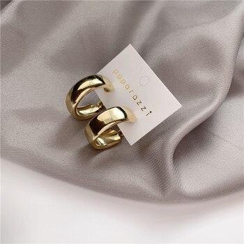 Minimalist Brand Hoop Circle Earring Woman 2020 New Vintage Gold Color korean Scrub Statement Big Earrings Accessories brincos 2