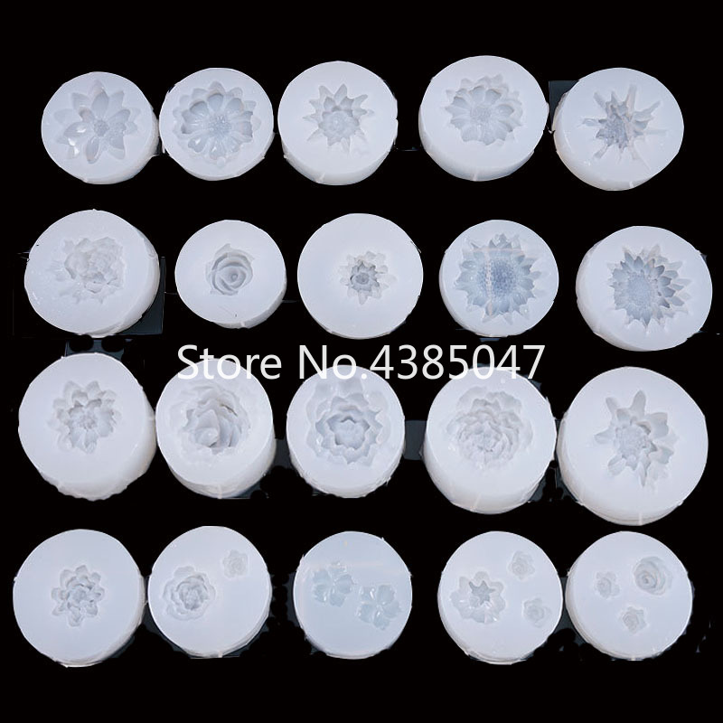 1PC Multi Flower DIY Craft Pendant Expoxy Tools Crystal Scale Jewelry Resin Molds For Jewelry Making Tool