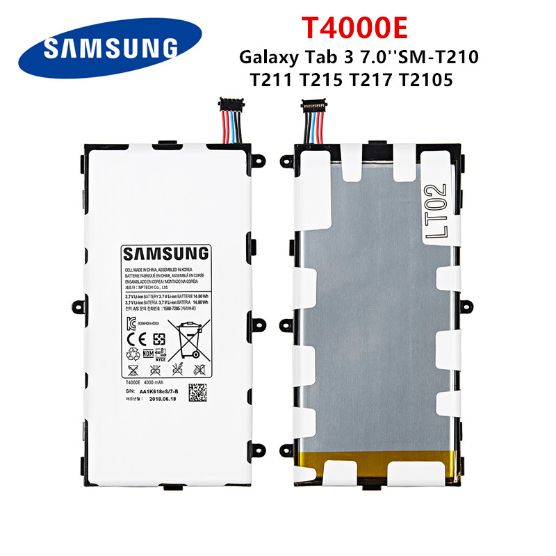 SAMSUNG Orginal Tablet T4000E Battery 4000mAh For Samsung Galaxy Tab 3 7.0'' T211 T210 T215 T217A SM-T210R T2105 P3210 P3200