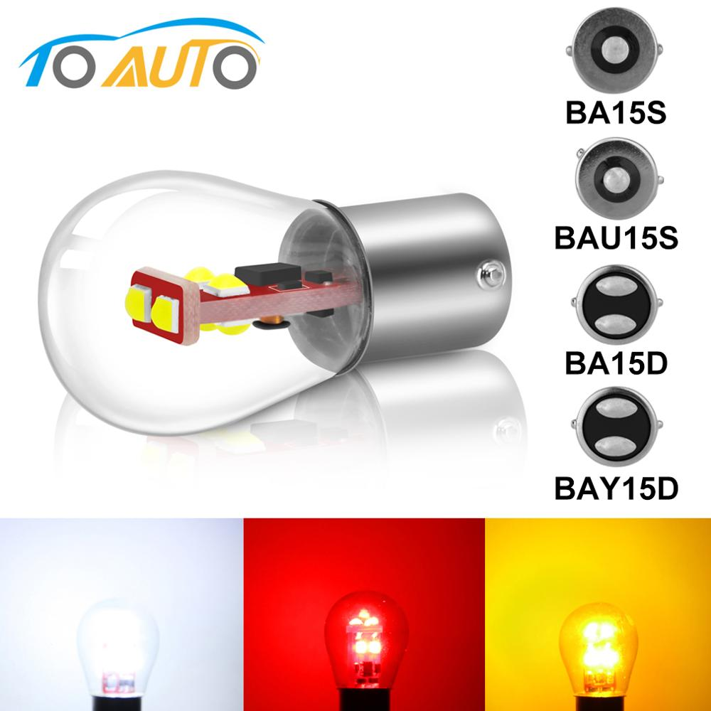 1pcs P21W 1156 BA15S BAU15S BA15D S35 6SMD Chips 1157 BAY15D Car Brake Lights Auto Reverse Bulb Parking Lamp 12V Super Bright