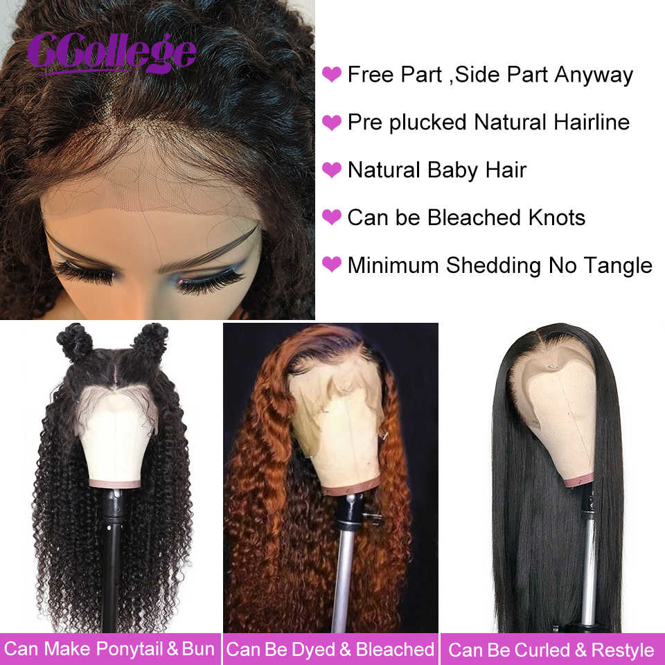 Ccollege Krullend Wave 13X4 Lace Front Pruiken Peruaanse Remy Human Hair Sluiting Pruiken Met Baby Haar Voor Vrouwen 30 Inch 150% Dichtheid