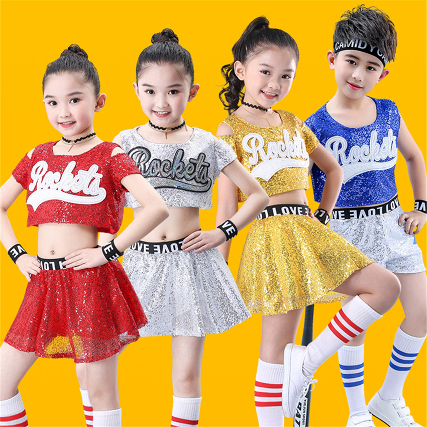 Kids Jazz Dance Wear Costumes For Girls Sequin Hiphop Stage Performance Cheerleader Team Rave Outfit Dancing Top Skirt/Pant Set