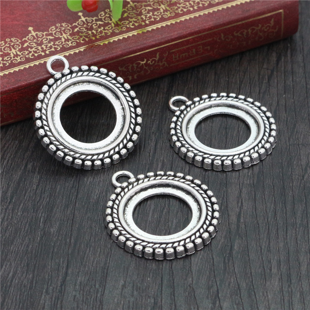4pcs 20mm Inner Size Antique Silver Plated Classic Style Cabochon Base Setting Charms Pendant (D1-39)