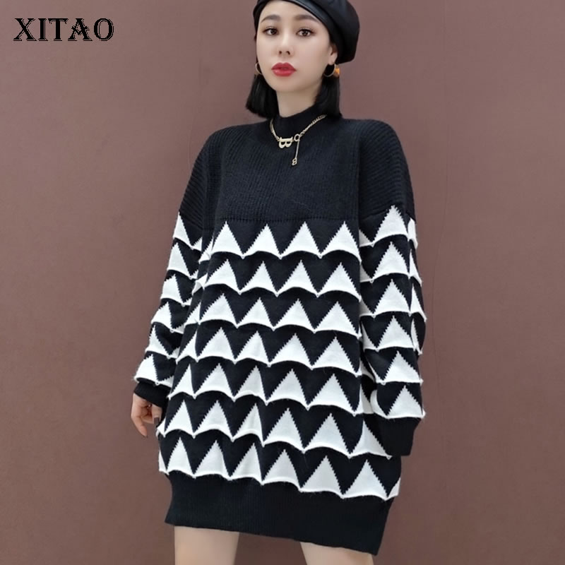 XITAO Patchwork Knitted Pullover Sweater Women 2020 Winter Casual Fashion New Style Temperament All Match Sweater ZY3224