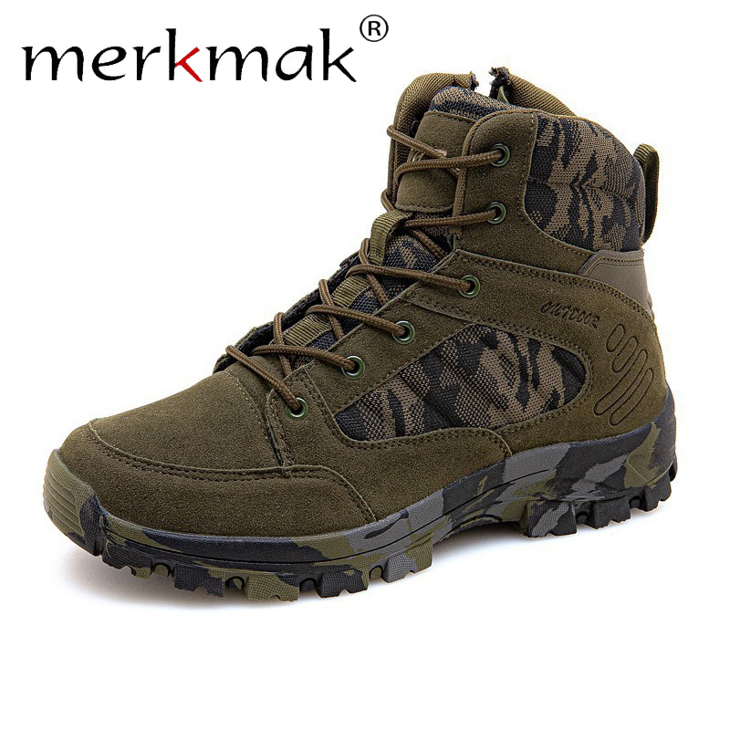 Merkmak Camouflage Autumn Men Boots Casual Leather Shoes Mens Soft Non-slip Rubber Soles Outdoor Hiking Desert Sneakers Male