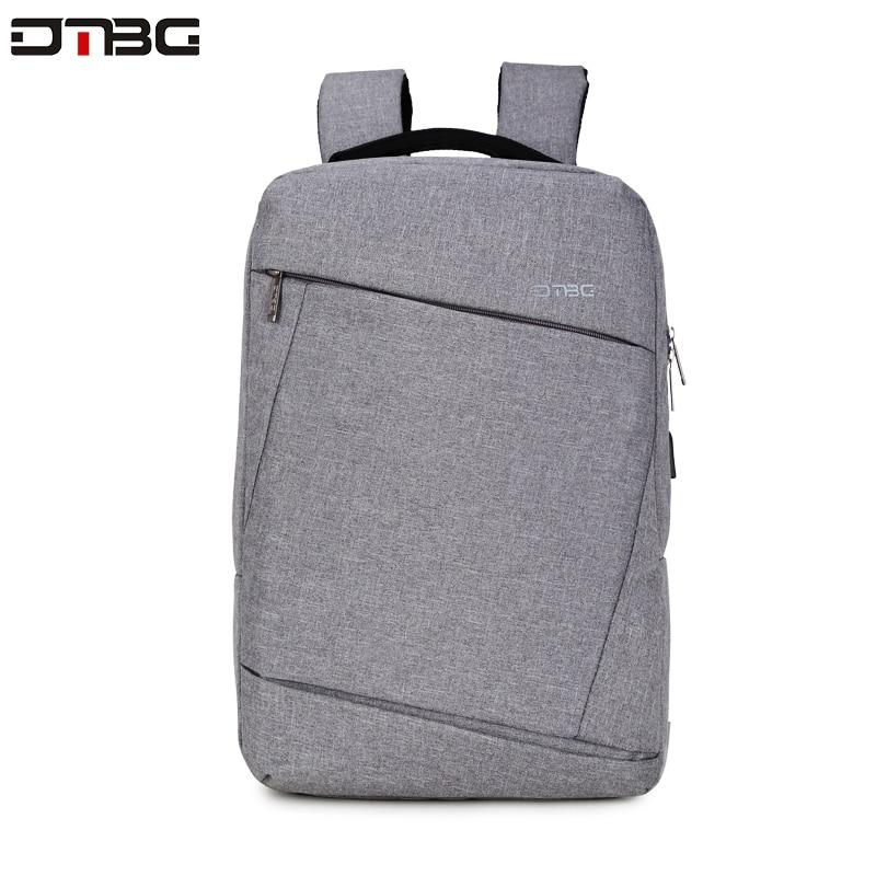 "Image 2 - DTBG Gray Backpack 15.6"" Laptop Back Pack Men Women Fashion Slim Travel Bags Large Capacity Waterproof College School Mochilar-in Backpacks from Luggage & Bags"