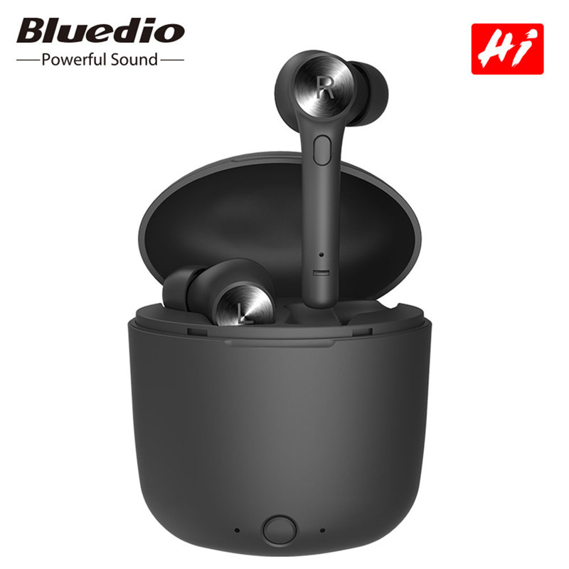 Original Bluedio Hi Earbuds Wireless Bluetooth 5.0 Earphone Ture Stereo Sport Headset In-Ear With Charging Box Built-in Mic