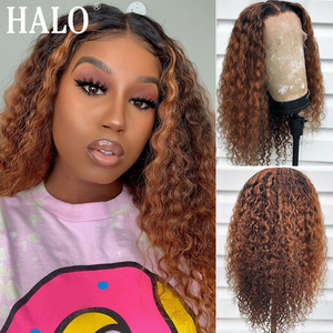 1B 27 Ombre Colored Lace Front Human Hair Wigs Honey Blonde Curly Brown Brazilian Short Bob Wig Plucked Black Women Hightlight(China)