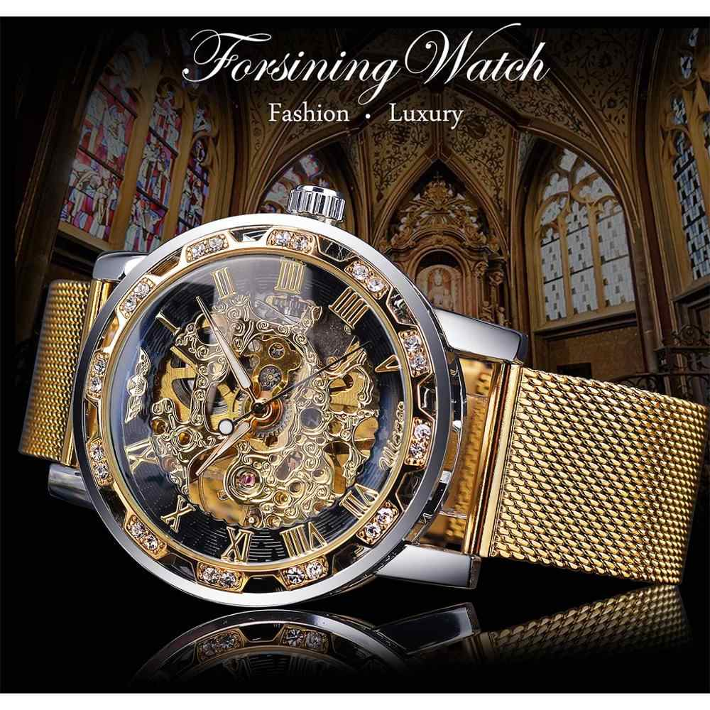 受賞ゴールデン腕時計メンズスケルトン機械式時計クリスタルメッシュスリムステンレス鋼バンドトップブランドの高級ハンド風腕時計