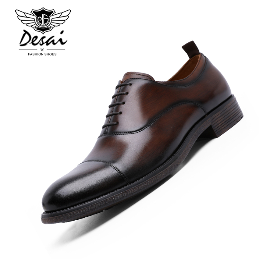 DESAI Brand Genuine Leather Business Dress Shoes Gradient  Gentleman Shoes Retro Patent Leather Oxford Shoes EU Size 38-47