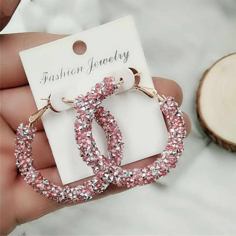 Earrings Charm Feast Exaggerated Geometric Round Shiny Circle Frosted Crystal Big Earrings Fashion Jewelry Women's New Design