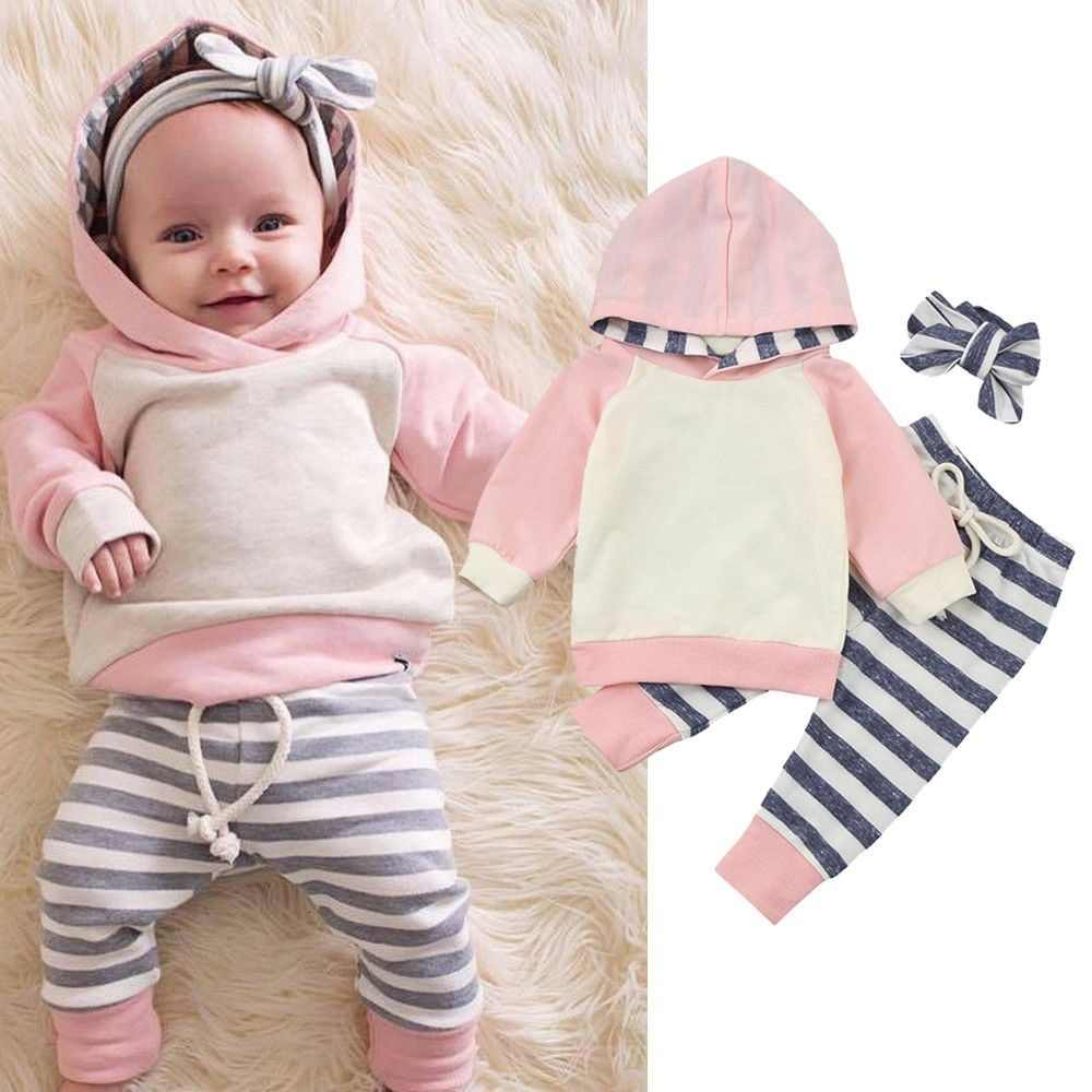Cute Baby Girls Infant Spring Autumn Sweatshirt Hoodies+Pants Outfits Set Striped Tracksuit Clothing Set For Kids Unisex