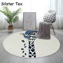Хлопковый круглый коврик silstar tex с желтым рисунком жирафа