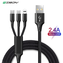 3in1 USB Type C Micro Cable Type-C For iPhone 6s Samsung S8 Charger 2.4A Fast Charging Mobile Phone Cables