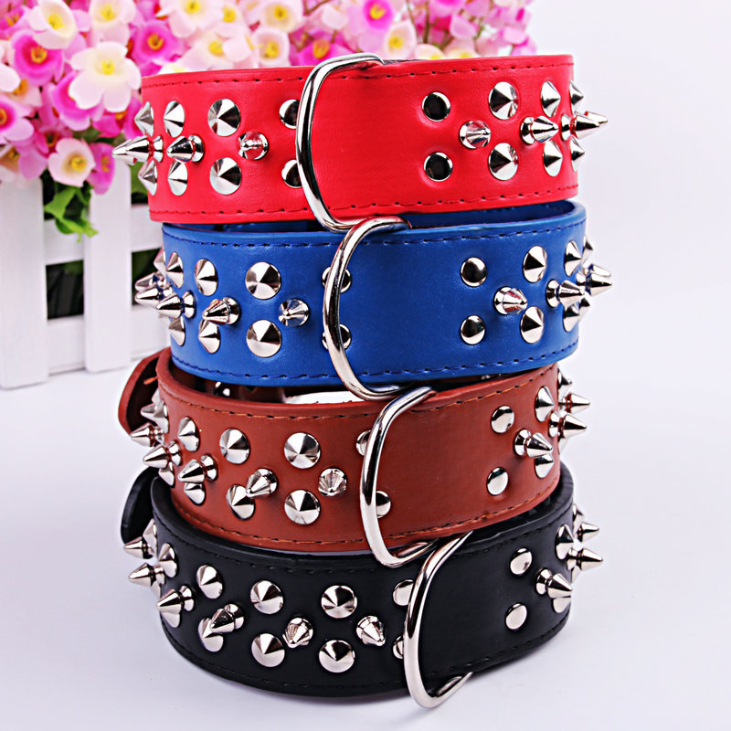 Pet Collar Textured Handsome Pu Hide Substance Rivet Bullet Dog Neck Ring Teddy Collar