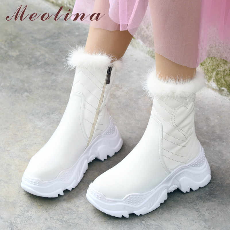Meotina Winter Fur Snow Boots Women Natural Genuine Leather Flat Platform Ankle Boots Warm Plush Zipper Shoes Female Size 34-39