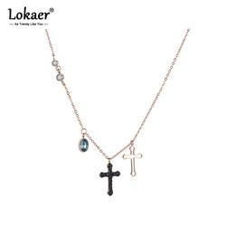 Lokaer biżuteria ze stali nierdzewnej drążą i czarne kryształy Corss naszyjnik różowe złoto kolor łańcuch noworoczny prezent N18271