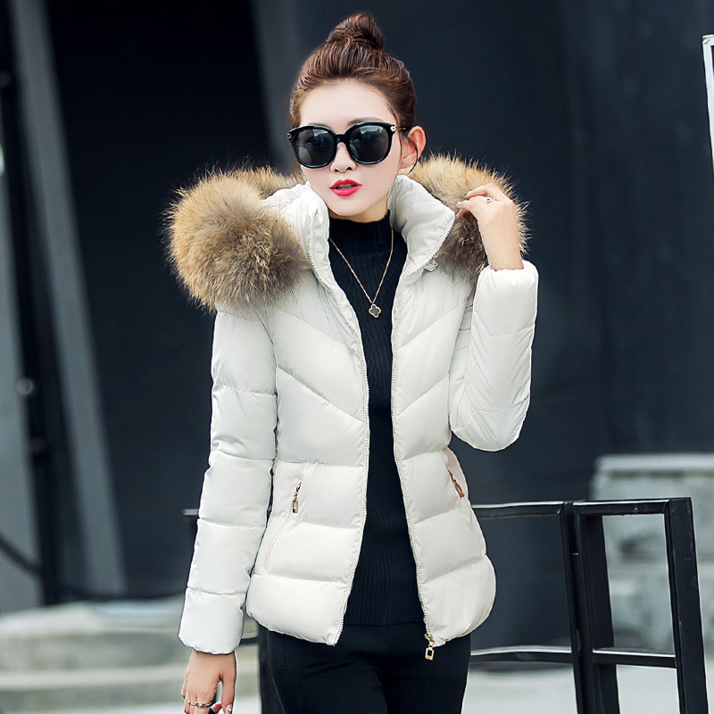 New Winter Womens Fur Collar Warm Parkas Cotton Padded Wadded Jacket